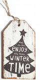 Houten kersthanger label, winter time_