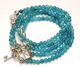 Wikkel armband/collier turquoise_