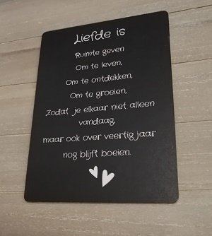 Bordje, Liefde is...