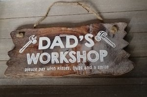 Dad's workshop (houten bord)