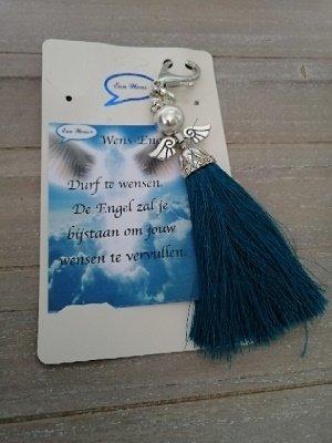 Wens engel met kobalt blauwe kwast