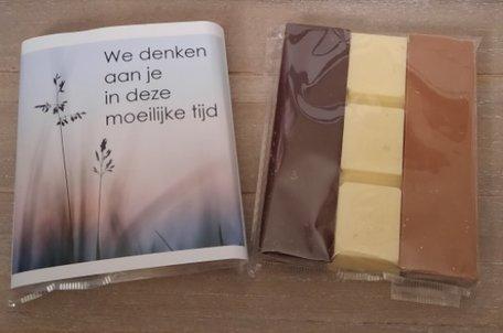 Chocolade, we denken aan je in deze moeilijke tijd