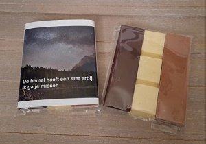 Chocolade, de hemel heeft een ster erbij, ik ga je missen