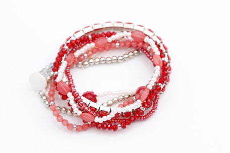 Roze Rode kralenarmbanden (met roosje)