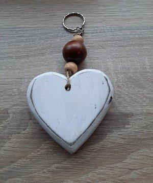 Decoratie hart met houten kralen