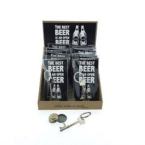 Sleutelhanger, flesopener, the best beer is an open beer
