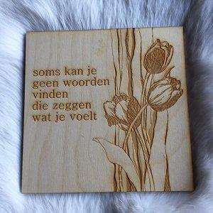 Wenskaart (van hout) woorden....