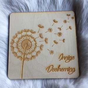 Wenskaart (van hout) Innige Deelneming