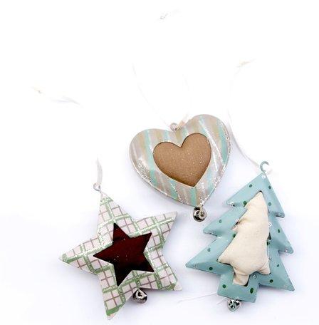 3 metalen kerst hangers