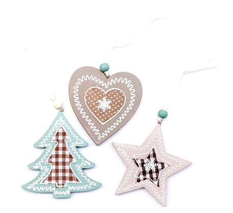3 houten kerst hangers