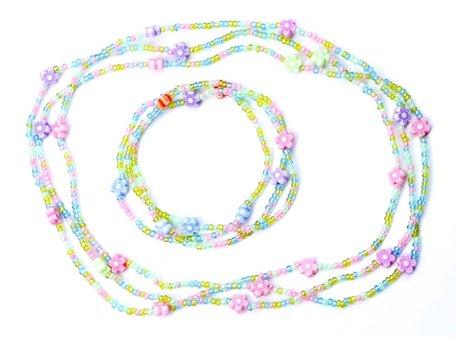 Kinderketting en armband kleine kraaltjes met bloemetjes