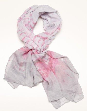sjaal lichtgrijs met roze