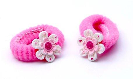 2 baby haarelastiekjes bloem