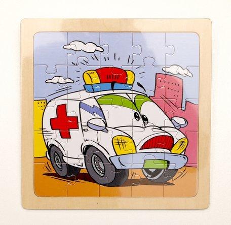 Puzzel ambulance met gezicht