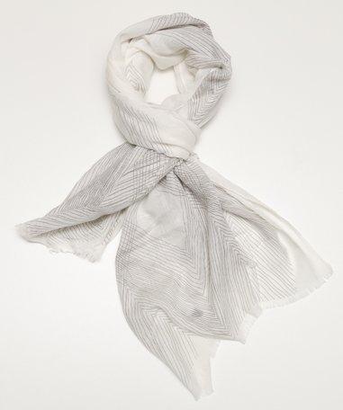 sjaal wit met grijs streepje