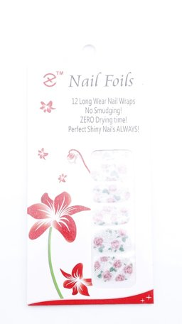Nail wraps zilver/roos