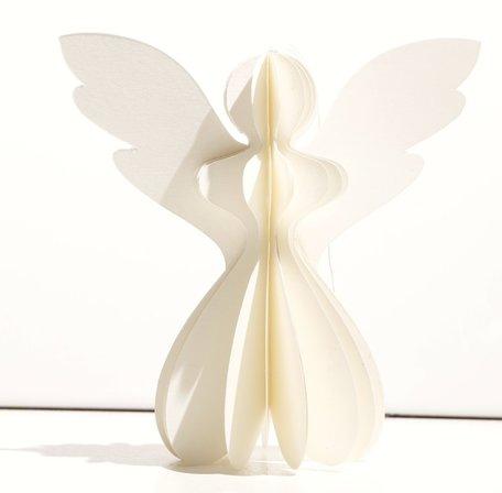Kerstengel Papier wit (13 cm)