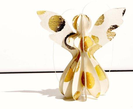 Kerstengel Papier wit/goud (9 cm)