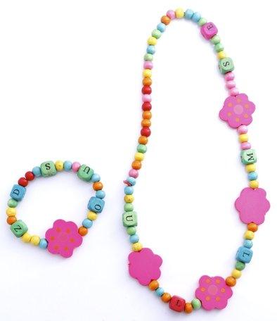 Kinderketting en armband bloem en letters