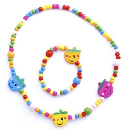 Kinderketting en armband vrolijke gezichtjes