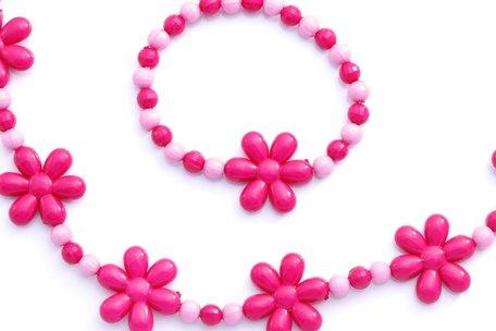Kinderketting en armband roze margrietjes