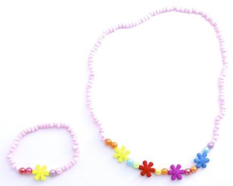 Kinderketting en armband roze met bloemetjes