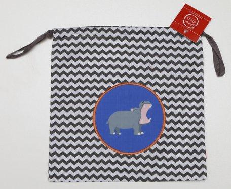 Kindertasje zwarte zigzag met nijlpaard