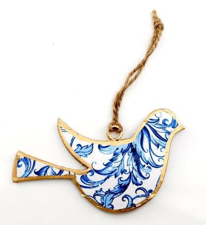 Vogel, wit met donkerblauw patroon (metaal)