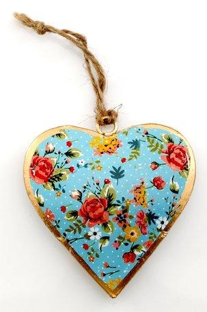 Metalen hart (klein) met bloemetjes