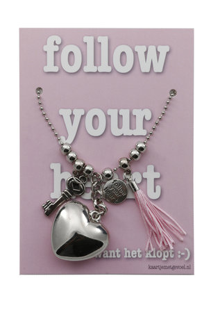 Kaart met ketting Follow your heart ... (roze)