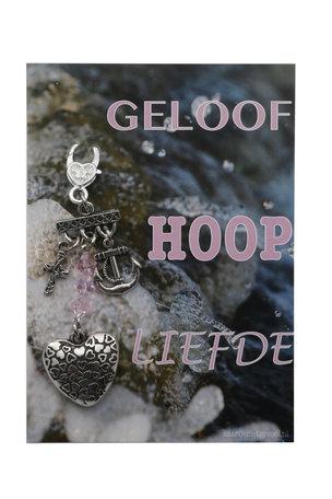 Kaart met(Sleutel)hanger, geloof hoop liefde (roze)