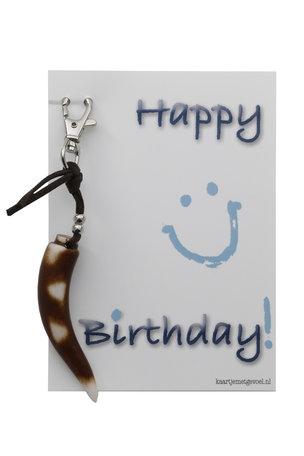 Kaart met (sleutel)hanger, happy birthday