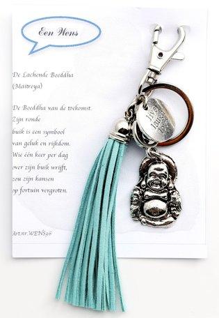 Lachende Boeddha (turquoise kwast)