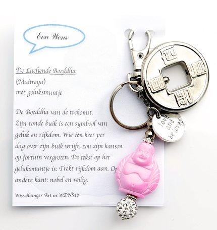 Boeddha met geluksmuntje (roze)