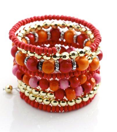 Armbanden rood/goud