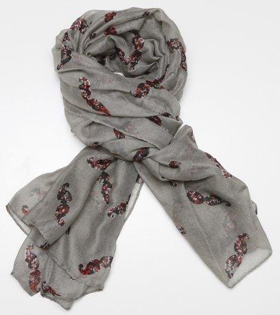 Sjaal, grijs/groen met gebloemde snor