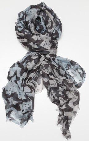 Sjaal, grijsgroen/zwart, sterren
