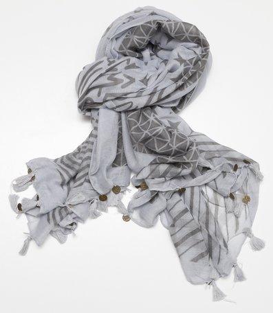 Sjaal, met kwastjes en geluksmuntjes