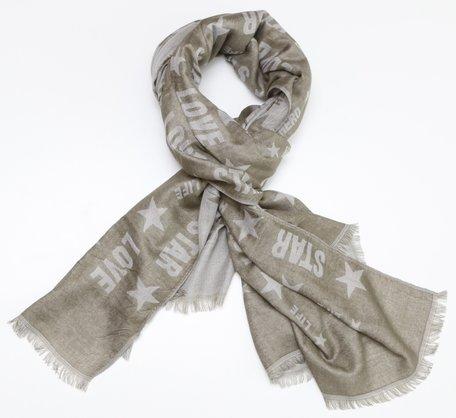 Sjaal, love stars (grijsgroen)