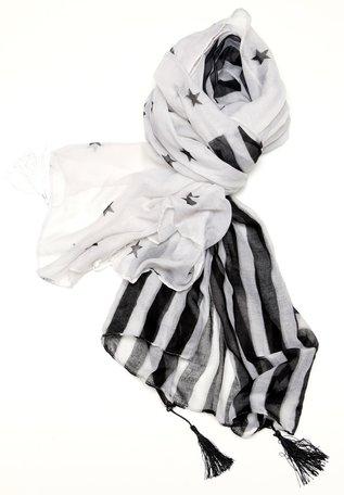 Sjaal, ster en streep (zwartwit)