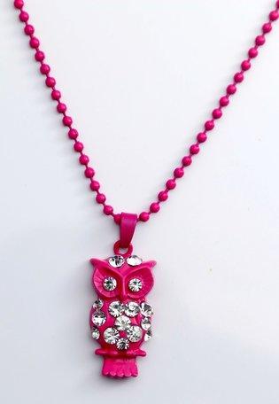 Kinderketting, roze met hanger uil
