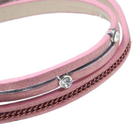Wikkelarmband roze met kwasje