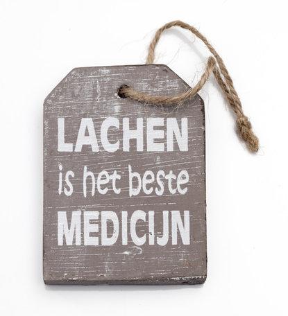 Houten hanger label, lachen