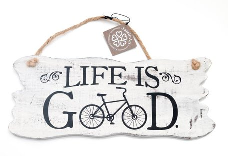 Tekstbord, life is good (hout)