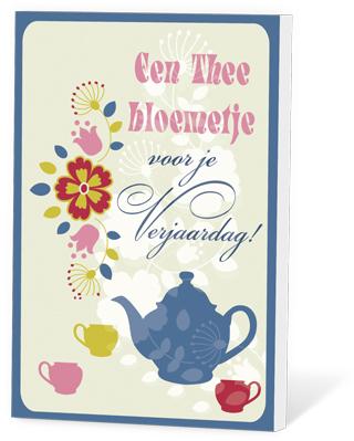 Een thee bloemetje voor je verjaardag(thee en een kaartje)