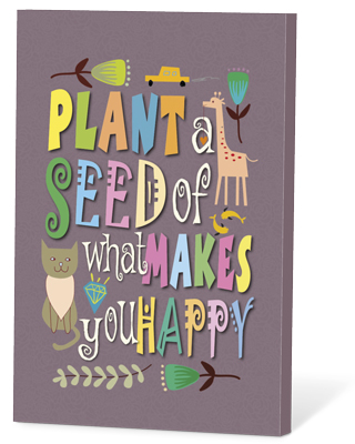 Plant a seedof what makes you happy (zaden en een kaartje)