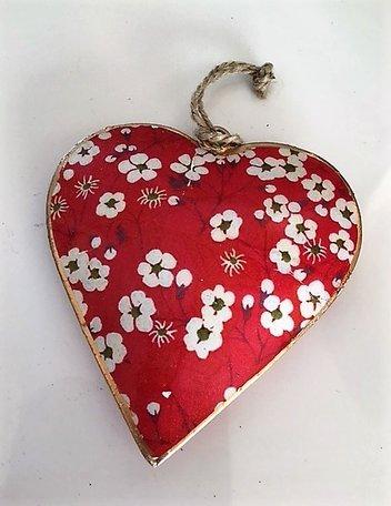 Metalen hart (groot) met bloemetjes