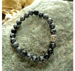 Boeddha armband (sneeuwvlok obsidiaan)