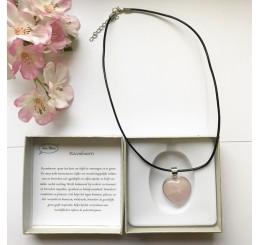 Ketting rozenkwarts hart (leder)
