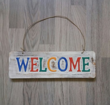 Welcome houten bord